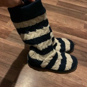 Navy blue and cream striped Uggs